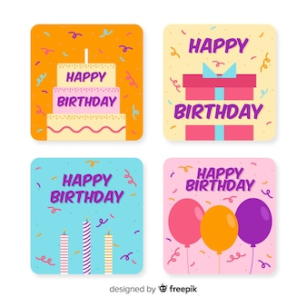 Flat design birthday card collection