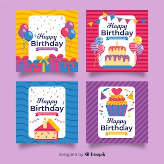 Flat design birthday card pack