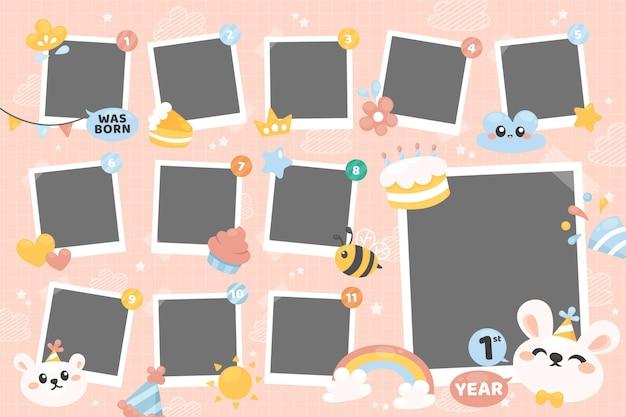 Плоский дизайн день рождения коллаж рамка копия пространства коллекция