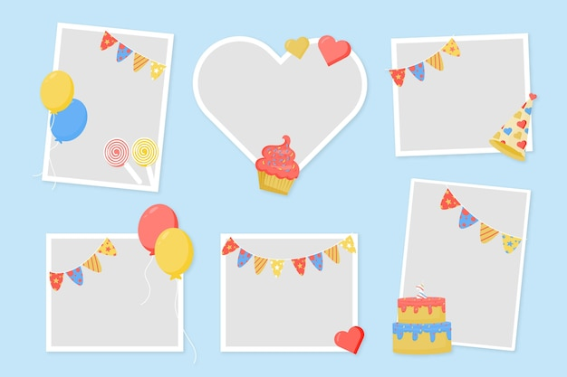 Flat design birthday collage frame copy space
