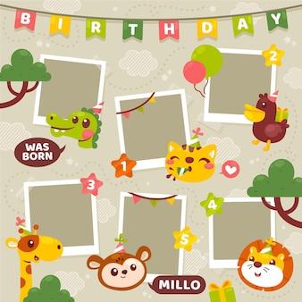 Плоский дизайн день рождения коллаж кадр набор