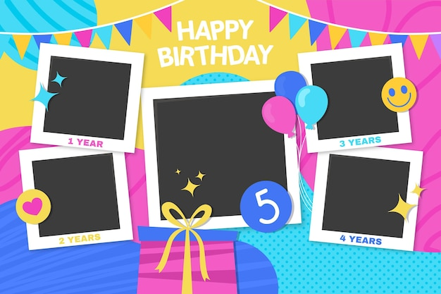 Flat design birthday collage frames set