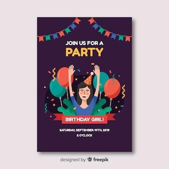 Flat design birthday invitation template