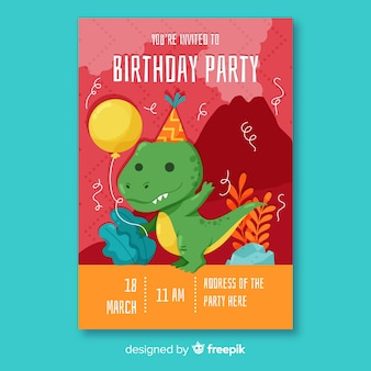 Flat design birthday invitation template