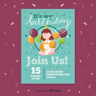 Flat design of birthday invitation template
