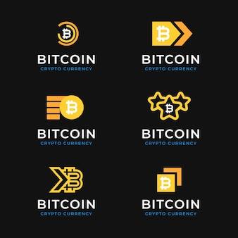 Flat design bitcoin logos pack Free Vector