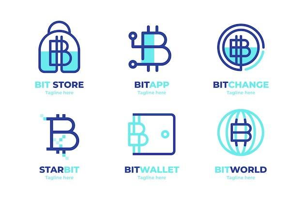 Flat design bitcoin logos pack
