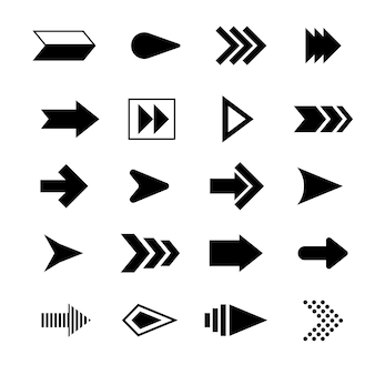 Flat design black arrow set
