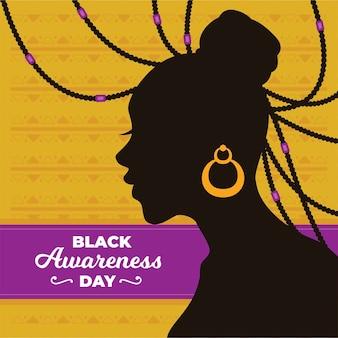 Flat design black awareness day background