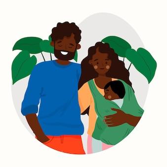 赤ちゃんとフラットなデザインの黒の家族