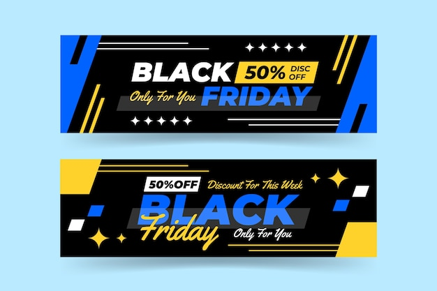 Flat design black friday banner template