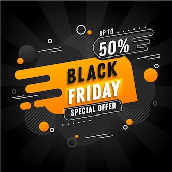 Flat design black friday banner