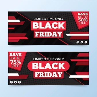 Flat design black friday banners pack