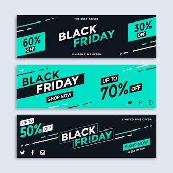 Flat design black friday banners set