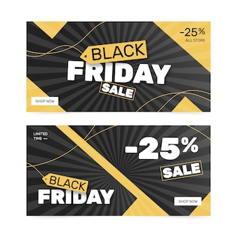 Flat design black friday banners template pack
