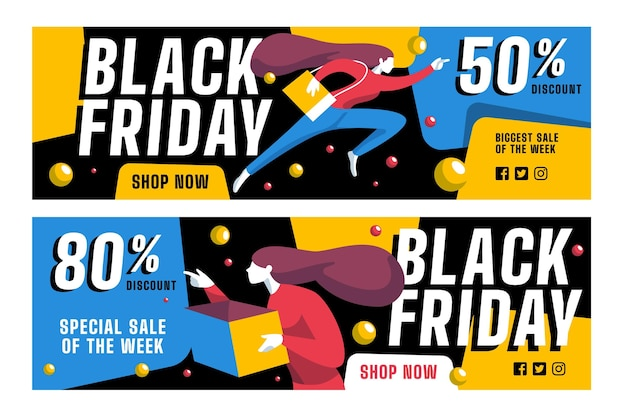 Flat design black friday banners template set