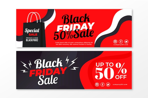 Flat design black friday banners template