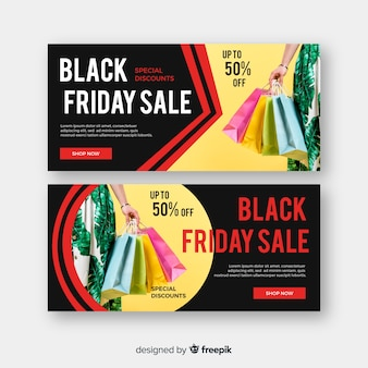Flat design black friday banners with photo