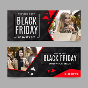 Flat design black friday banners