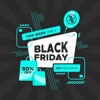 Flat design black friday concept