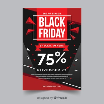 Flat design of black friday flyer template