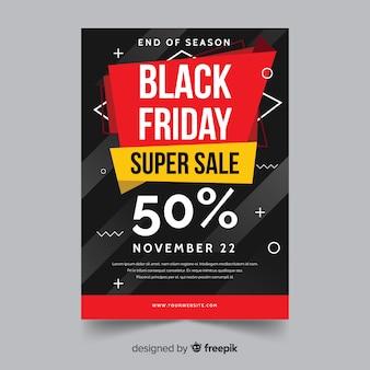 Flat design of black friday flyer template