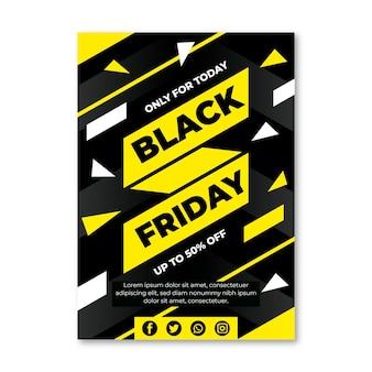 Плоский дизайн шаблона флаера черной пятницы