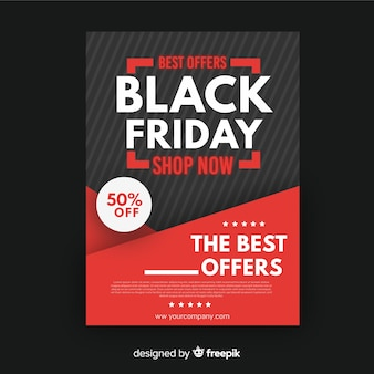 Flat design black friday flyer