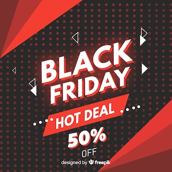 Flat design black friday hot deal banner