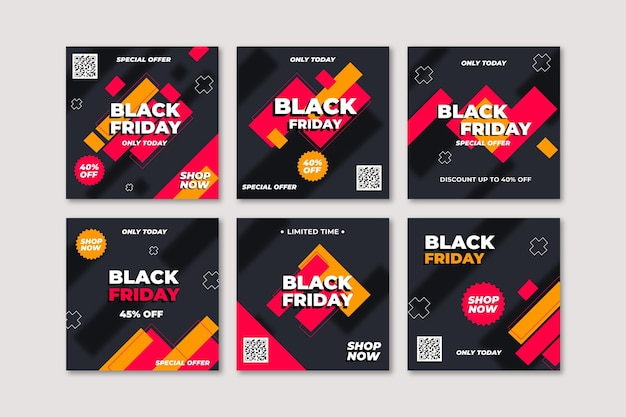 Flat design black friday instagram post collection