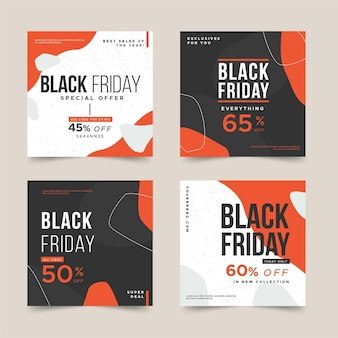 Flat design black friday instagram posts collection