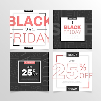 Flat design black friday instagram posts