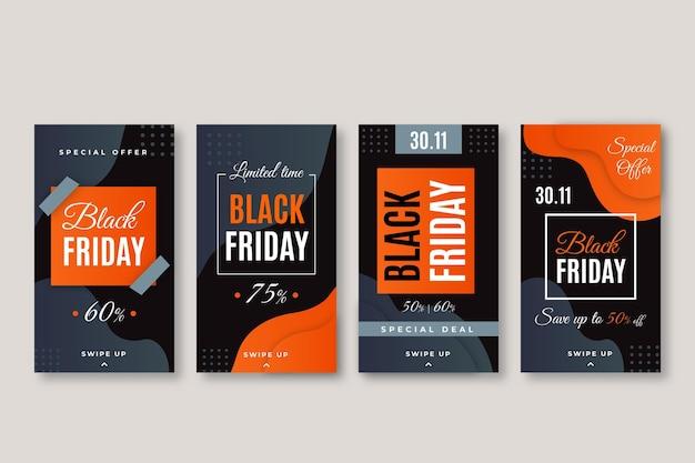 フラットデザインブラックフライデーインスタグラムストーリーコレクション