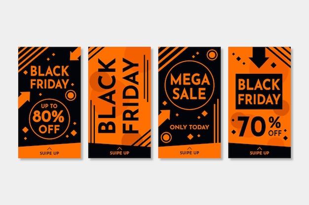 Плоский дизайн черная пятница instagram рассказы