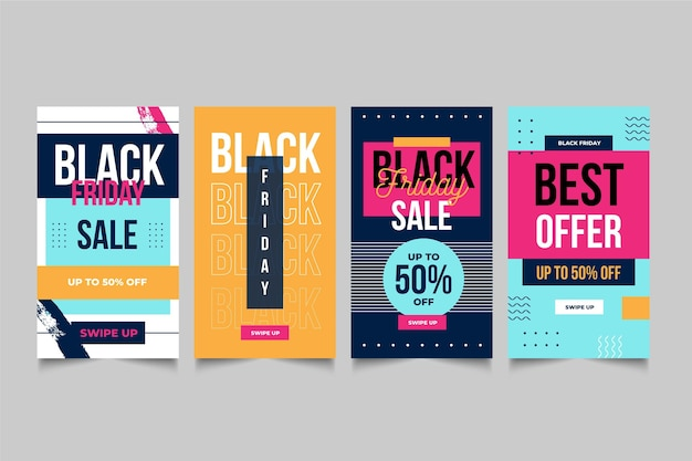Flat design black friday instagram stories