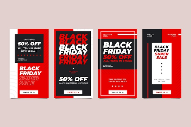 Flat design black friday instagram stories