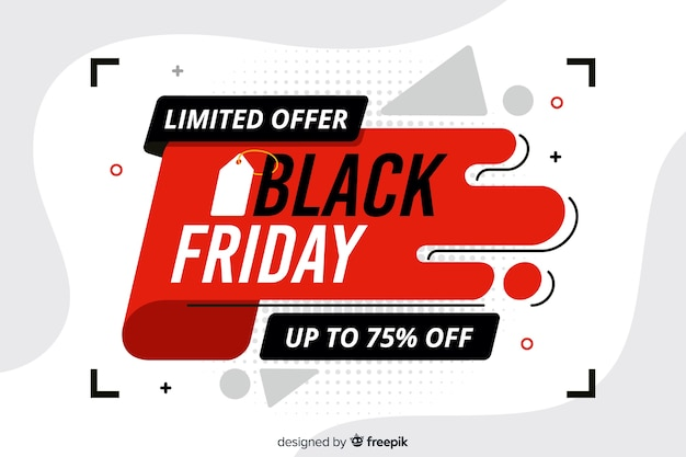 Flat design black friday limited offer banner