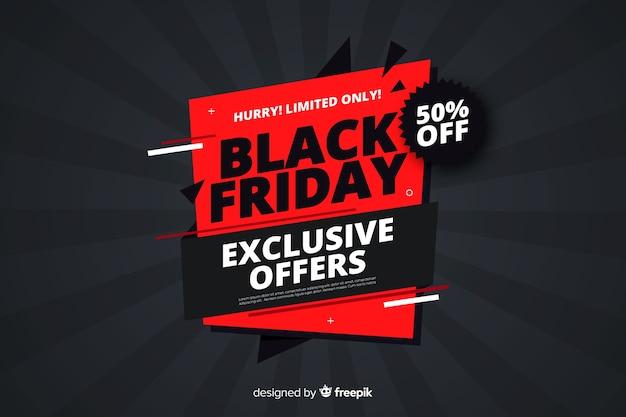 Flat design black friday offers banner