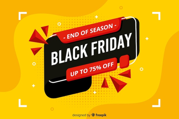 Flat design black friday sale banner