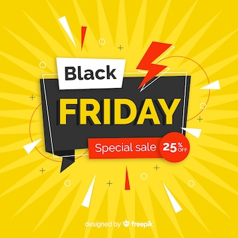 Flat design black friday sales banner