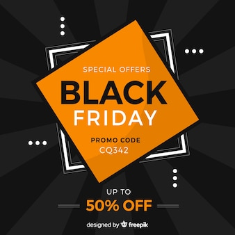 Flat design black friday special offer banner