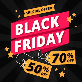 Flat design black friday theme