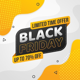 Flat design black friday yellow abstract shape for sale promotion