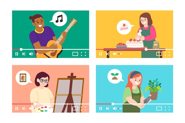 Flat design bloggers on screen collection