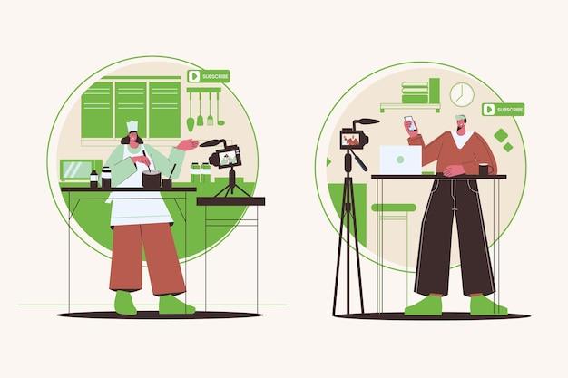 Blogger di design piatto al lavoro