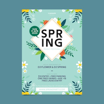 Flat design blossom flowers spring party poster template