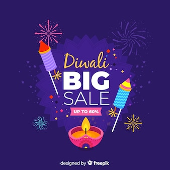 Flat design of blue diwali sale