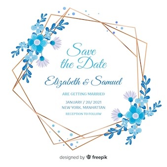 Flat design of blue floral frame wedding invitation