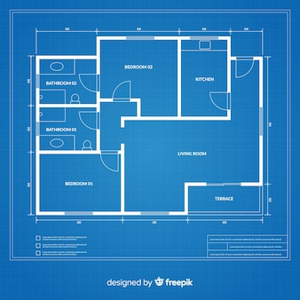 Flat design blueprint of a house Premium Vector