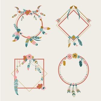 Collezione di cornici boho dal design piatto